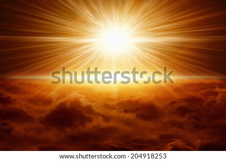 Abstract apocalyptic background - powerful red explosion, scientific experiment, bright red light from above - stock photo