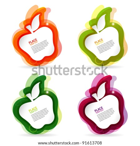 Abstract apple colorful template, element for design, raster version - stock photo