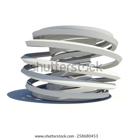 Abstract arch with shadow on white surface. Isolated on white background - stock photo