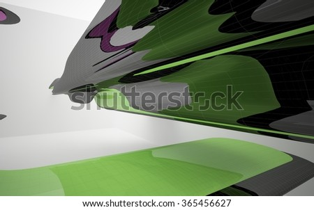Abstract architectural background of the polygons. Concept of organic architecture.3D illustration. 3D rendering - stock photo