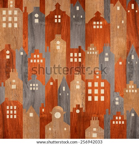 Abstract architectural building - seamless background - differen colors - stock photo