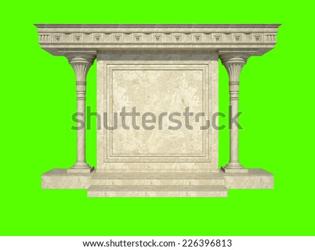 Abstract architectural structure in classical style. Isolated on green - stock photo
