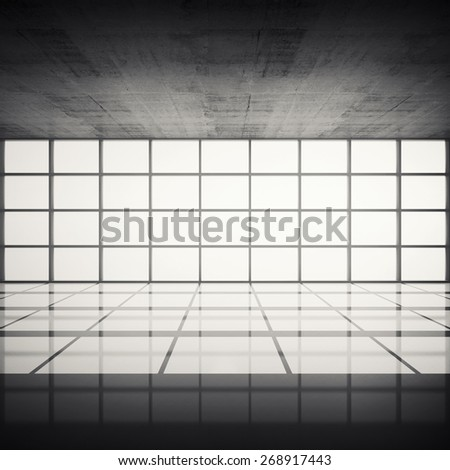 Abstract architecture background, empty concrete interior with bright windows in modern frames, 3d illustration with retro toned filter, instagram style, front view - stock photo