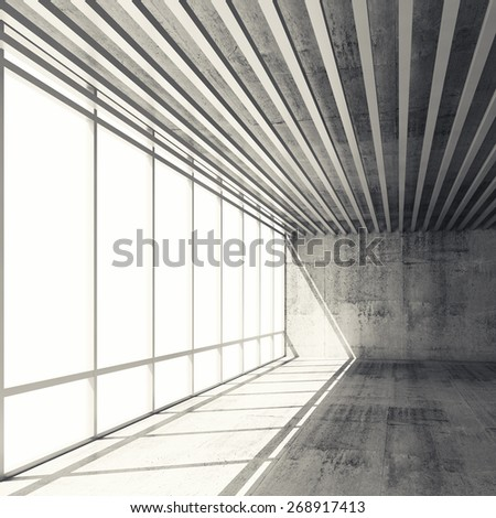 Abstract architecture background, empty interior with bright windows and gray concrete walls, 3d illustration with retro toned filter, instagram style - stock photo