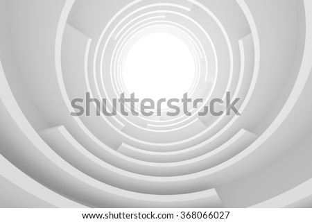 Abstract Architecture Background. White Circular Building, 3d Illustration - stock photo