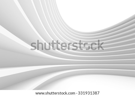 Abstract Architecture Background. White Circular Building. Futuristic Tech Concept. Wave Geometric Design. 3d Render. - stock photo