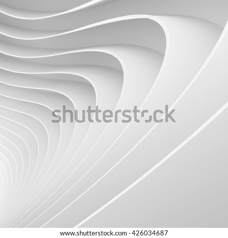 Abstract Architecture Background. White Wave Wallpaper. 3d Rendering Image of Minimal Design - stock photo