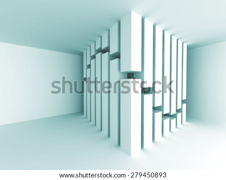 Abstract Architecture Column Concept Empty Room Interior Background. 3d Render Illustration - stock photo
