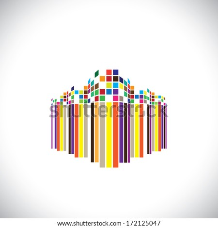 Abstract architecture icon of a modern futuristic building - graphic. This illustration of an colorful modern office structure is in colors like red, orange, black, blue, etc - stock photo