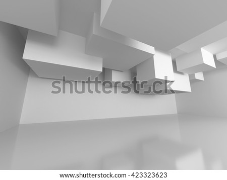 Abstract Architecture Modern Empty Room Interior Background. 3d Render Illustration - stock photo