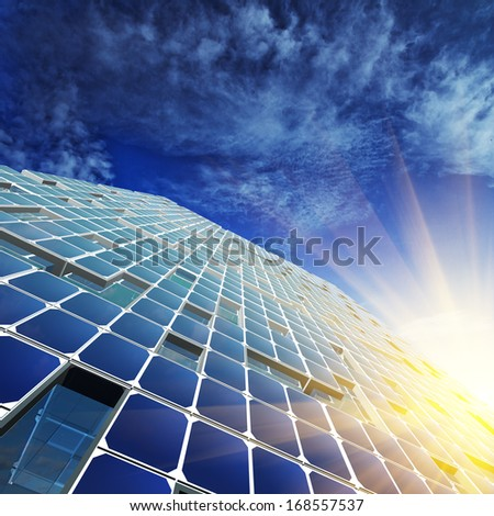 Abstract architecture. Skyscraper design, sky and 3d model my own - stock photo