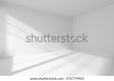 Abstract architecture white room interior - empty white room corner with white walls, white floor, white ceiling with sunlight from window, without any textures, 3d illustration - stock photo