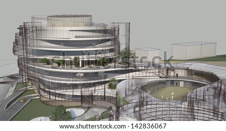 Abstract architecture wireframe, render of building - stock photo