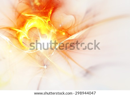 Abstract ardent background on white. Futuristic sun burst with flare. Template with lighting effect for creative design. Shiny smoke for decoration wallpaper, poster, cover booklet, flyer. Fractal art - stock photo
