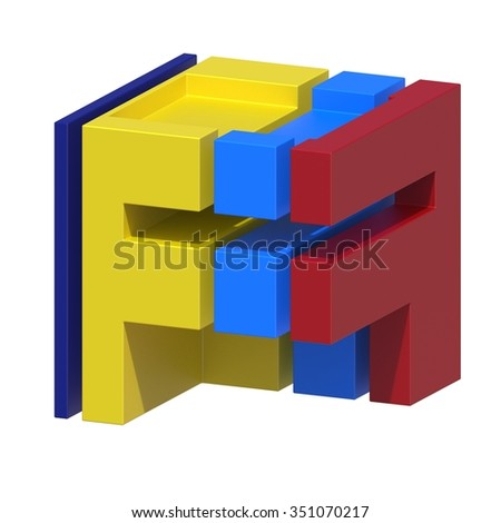 abstract art ABC, 3d letter F isolated on white background - stock photo