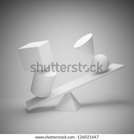 Abstract art background. Balancing geometric shapes. - stock photo