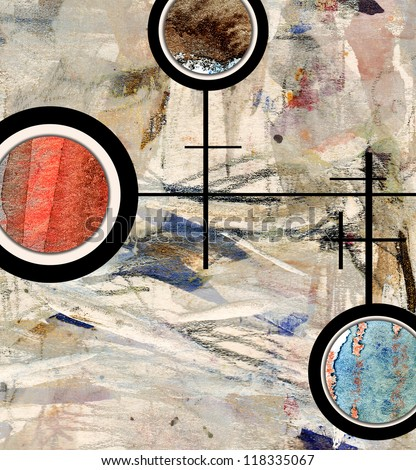 abstract art collage, mixed media and watercolor on paper - stock photo