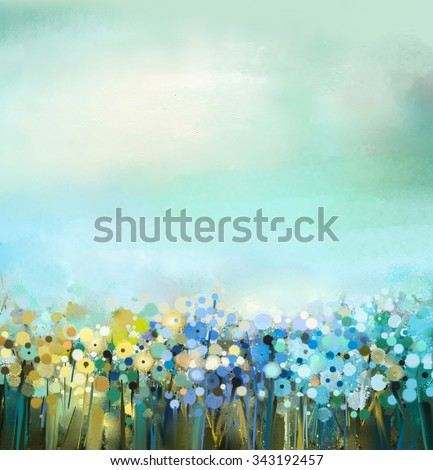 Abstract art oil painting of flowers plant. Dandelion flower in fields. Meadow landscape with wildflower. Green-blue sky color. Hand Paint floral Impressionist. Summer-spring nature background - stock photo