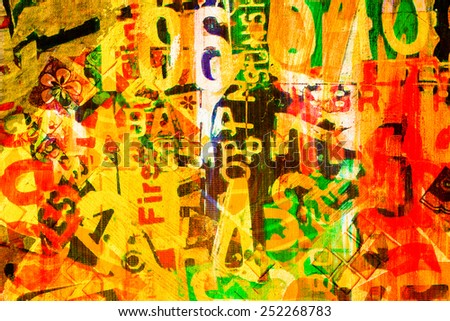 Abstract art on the wall, mixed media with painting and concrete wall - stock photo