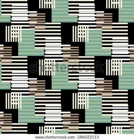Abstract art vintage stripped seamless pattern. Repeating background texture. Lines, stripes, circles. Cloth design. Wallpaper, wrapping - stock photo