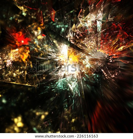 Abstract artistic bright colorful dynamic background. Fantasy explosion.  Fractal art - stock photo