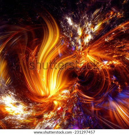 Abstract artistic shiny background. Golden fantasy flame. Beautiful glowing decorated cover of your booklet, flyer, album, invitation for holiday, party. Digital artwork. Fractal art - stock photo