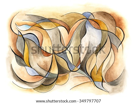 Abstract artwork with different shapes and lines - stock photo