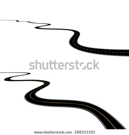 Abstract asphalt roads isolated on white background - stock photo