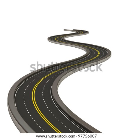 Abstract Asphalted Road isolated on white background - stock photo