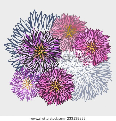 Abstract aster flower pattern-model for design of gift packs, patterns fabric, wallpaper, web sites, etc. - stock photo