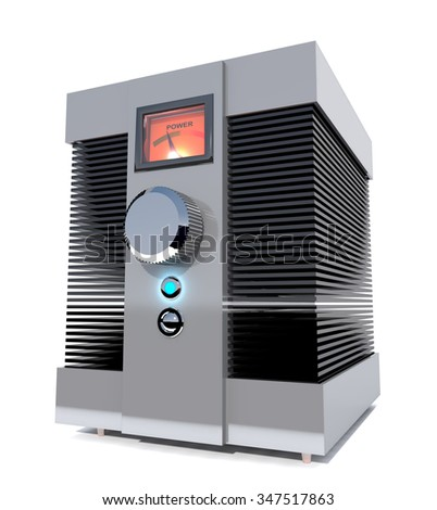 Abstract audio  power amplifier is on white background. - stock photo