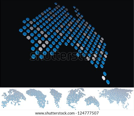 abstract Australia map from on array of blue and gray metallic points, on black background with maps of the continents on the white bottom line - stock photo