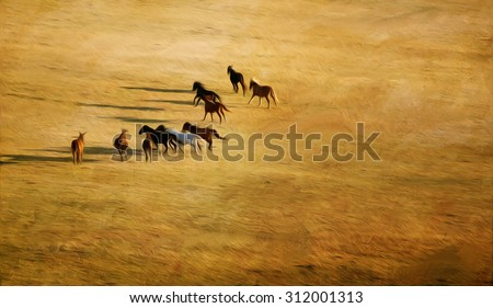 abstract autumn golden landscape with several running horses, oil painting style  - stock photo
