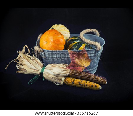 Abstract autumn harvest background with pumpkins and fall leaves over black background - stock photo