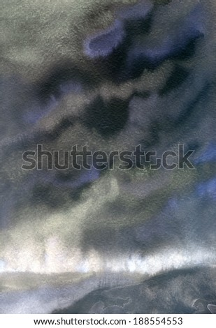 Abstract backdrop drawn watercolor on wet paper with space for text. Dark gray dramatic sky with large clouds  before storm  - stock photo