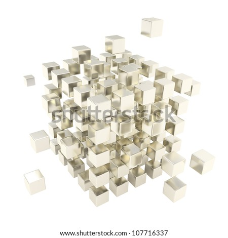 Abstract backdrop made of matted chrome cube composition isolated on white background - stock photo