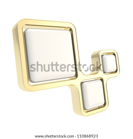 Abstract backdrop three segment glossy golden and milky plastic plate composition isolated on white background - stock photo