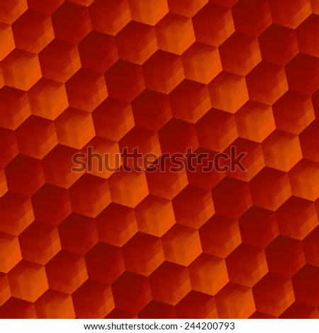 Abstract Background Art - Vintage Rusty Texture - Parquet or Floor - Geometric Pattern Hexagons - Illustration Design Element - Retro Effect - Orange Color Honey Comb - Digitally Generated - Hexagonal - stock photo