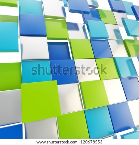 Abstract background backdrop made of glossy green, blue and chrome metal square plates - stock photo