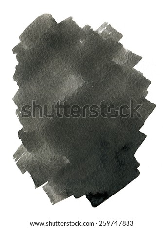 Abstract background, black watercolor stains on paper texture isolated - stock photo