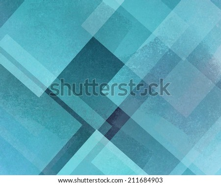 abstract background blue and white square and diamond shaped transparent layers in diagonal pattern background - stock photo