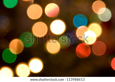 Abstract background. Blurred colorful circles bokeh of christmas lights - stock photo