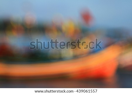 Abstract background blurry image of boats at the sea harbor - stock photo