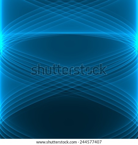 Abstract background. Bright blue lines on the dark blue background. Geometric pattern in blue colors. Digital art. - stock photo