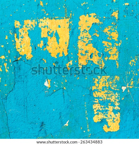 Abstract background concrete painted blue, yellow paint, weathered with cracks and scratches. Landscape style. Grungy Concrete Surface. Great background or texture. - stock photo