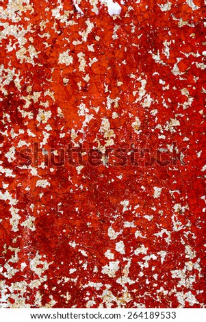 Abstract background concrete painted with red paint, weathered with cracks and scratches. Landscape style. Grungy Concrete Surface. Great background or texture. - stock photo