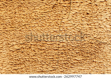 Abstract background concrete painted yellow paint, weathered with cracks and scratches. Landscape style. Grungy Concrete Surface. Great background or texture. - stock photo