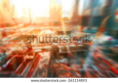 Abstract background construction site in New York, blurred and flare effects applied - stock photo