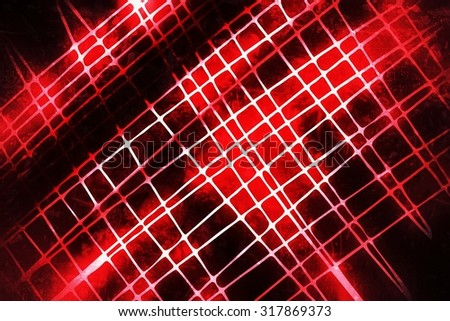 Abstract Background -  Crossing Red Lasers Glowing on Black Background - stock photo