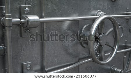 abstract background. Door of a Vintage Locked Safe in a Bank Vault Retail Security. High resolution 3d  - stock photo